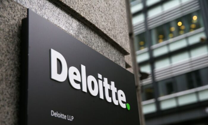 A Deloitte logo is pictured on a sign outside the company's offices in London, England, on Sept. 25, 2017. (Daniel Leal-Olivas/AFP via Getty Images)