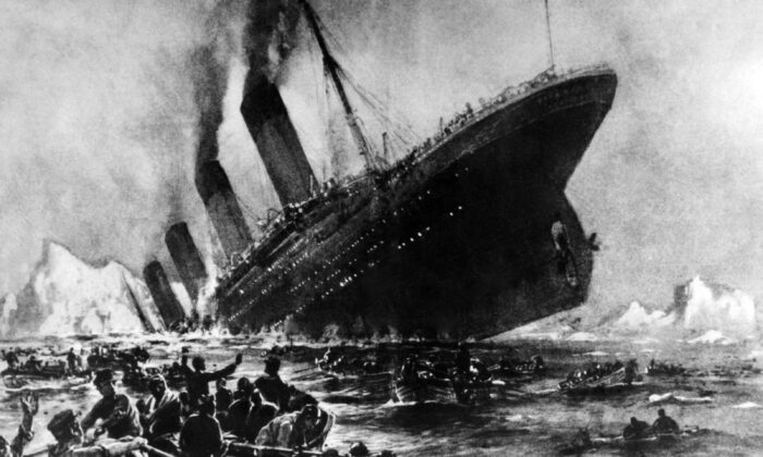 Undated artist impression showing the April 14, 1912, shipwreck of the British luxury passenger liner Titanic off the Nova-Scotia coast during its maiden voyage. (OFF/AFP via Getty Images)