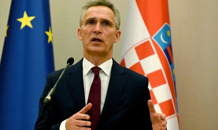 NATO Secretary General Jens Stoltenberg gives a statement following his meeting with Croatian President at the Presidential office in Zagreb, Croatia, on March 4, 2020. (Denis Lovrovic/AFP/Getty Images)