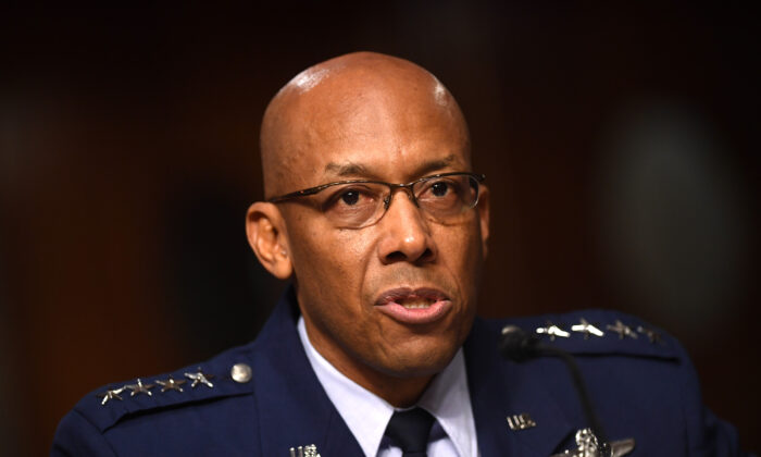 General Charles Brown, Jr., nominated to Chief of Staff of the US Air Force, testifies during a Senate Armed Services hearing on Capitol Hill in Washington, on May 7, 2020. (Kevin Dietsch/Pool/AFP via Getty Images)