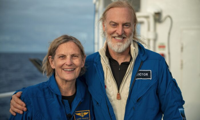 Kathy Sullivan and Victor Vescovo after their dive to Challenger Deep on June 8, 2020. (Enrique Alvarez/EYOS)