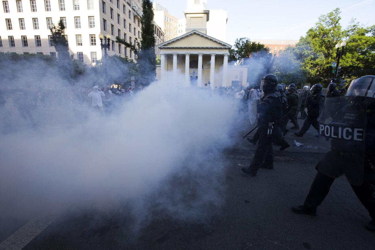riot police near lafayette square
