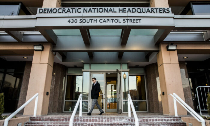 The Democratic National Headquarters building in Washington on Jan. 30, 2018. (Samira Bouaou/The Epoch Times)