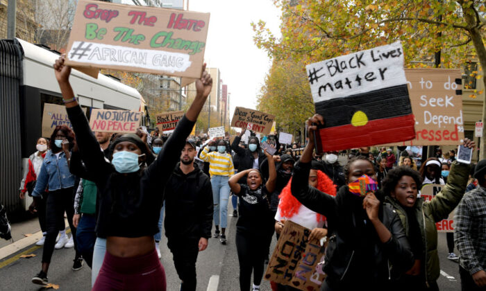 Protesters march in solidarity with protests in the United States on June 06, 2020 in Adelaide, Australia. (Tracey Nearmy/Getty Images)