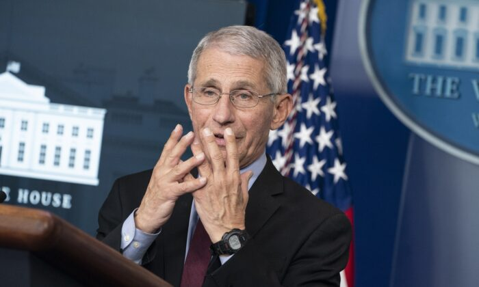 Anthony Fauci, director of the National Institute of Allergy and Infectious Diseases, speaks during a press briefing with members of the White House Coronavirus Task Force in Washington on April 5, 2020. On April 3, the CDC issued a recommendation that all Americans should wear masks or cloth face coverings in public settings. (Sarah Silbiger/Getty Images)
