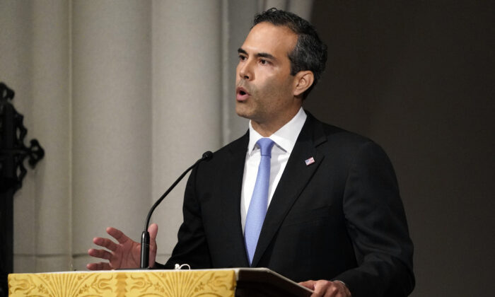 George P. Bush gives a eulogy during the funeral for former President George H.W. Bush at St. Martin's Episcopal Church, in Houston, Texas, on Dec. 6, 2018. (David J. Phillip-Pool/Getty Images)