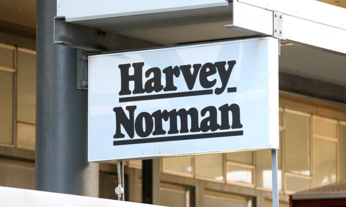 A general view of Harvey Norman signage after the business was deemed essential on April 09, 2020 in Wellington, New Zealand. (Hagen Hopkins/Getty Images)