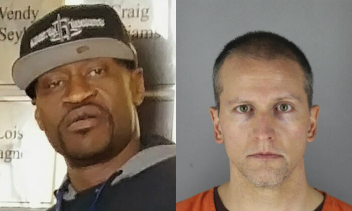 (L) George Floyd in a file photograph, and (R) Derek Chauvin, who was arrested May 29, in the Memorial Day death of Floyd, in a mugshot. (Christopher Harris via AP; Hennepin County Sheriff via AP)