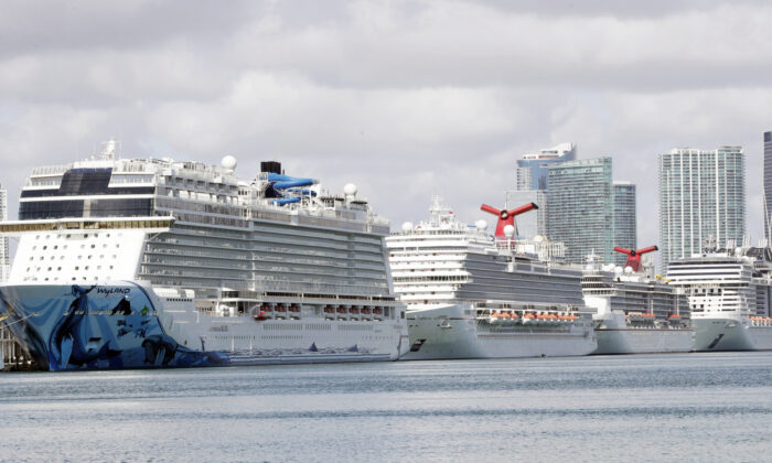 Cruise ships are docked at PortMiami in Miami March 31, 2020. (Wilfredo Lee/AP)