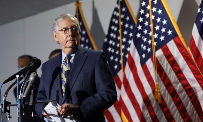 Senate Majority Leader Mitch McConnell (R-Ky.) speaks to reporters following the Senate Republicans weekly policy lunch on Capitol Hill in Washington, on June 9, 2020. (Leah Millis/Reuters)