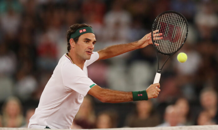 Switzerland's Roger Federer in action during the exhibition match against Spain's Rafael Nadal in Cape Town, South Africa, on Feb. 7, 2020. (Mike Hutchings/Reuters)