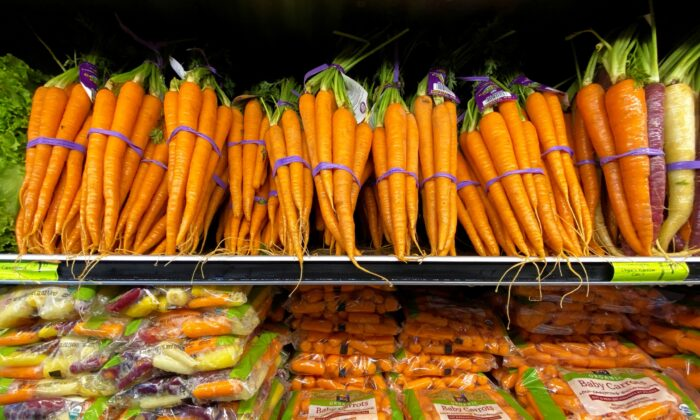 Fresh carrots are shown for sale at a grocery store in Del Mar, Calif., on June 3, 2020. (Mike Blake/Reuters)