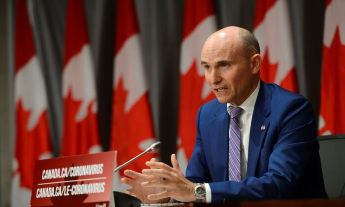 Treasury Board President Jean-Yves Duclos speaks during a news conference on Parliament Hill on June 10, 2020. (Sean Kilpatrick/The Canadian Press)