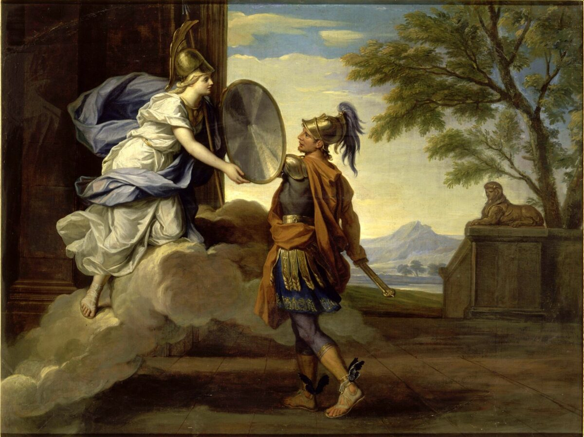 Minerva (Athena) Giving her Shield to Perseus