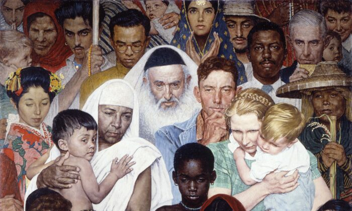 """""""The Golden Rule"""" by Norman Rockwell. Oil on canvas. Cover of the April 1, 1961 Saturday Evening Post. ©1961 SEPS: Licensed by Curtis Publishing, Indianapolis, Ind. (Courtesy of Norman Rockwell Museum Collection)"""