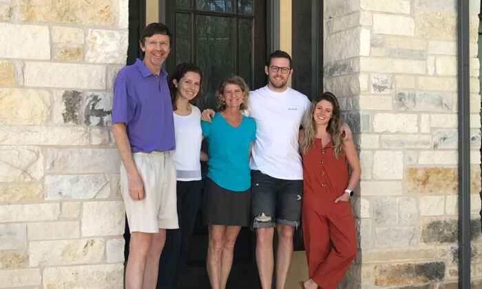 (From left) Ken Frankenfeld stands with his daughter, Caroline Frankenfeld, his wife, Sarah Frankenfeld, his son, Kevin Frankenfeld, and Kevin's girlfriend, Maddie Haller, outside the Frankenfelds' home in Austin, Texas, on May 3, 2020. Kevin and Maddie live in New York City but left to quarantine at the Frankenfelds' townhome after the COVID-19 pandemic worsened in New York. (Sharon Jayson for KHN)