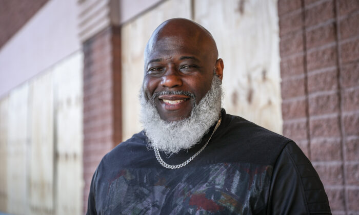 Korey Dean, founder of the Man Up Club, in Minneapolis, Minn., on May 31, 2020. (Charlotte Cuthbertson/The Epoch Times)