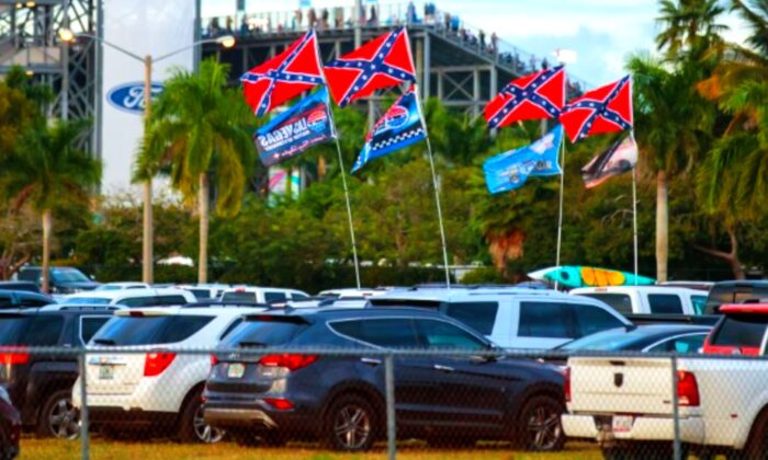 Confederate flags are visible in the parking lot of Homestead-Miami Speedway during the NASCAR Cup Series Ford EcoBoost 400 on Nov. 18, 2018. (Mark J. Rebilas-USA TODAY Sports/Reuters)