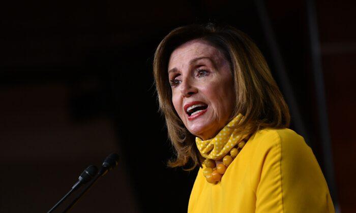 House Speaker Nancy Pelosi (D-Calif.) speaks at her weekly press briefing on Capitol Hill in Washington on June 11, 2020. (Mandel Ngan/AFP via Getty Images)