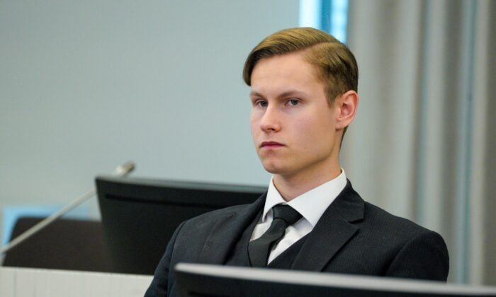 Defendant Philip Manshaus sits in a court room as he waits for the verdict on the last day of his trial in Asker and Baerum district court in Sandvika, Norway, on Jun 11, 2020. (Håkon Mosvold Larsen/NTB Scanpix via AP, POOL)