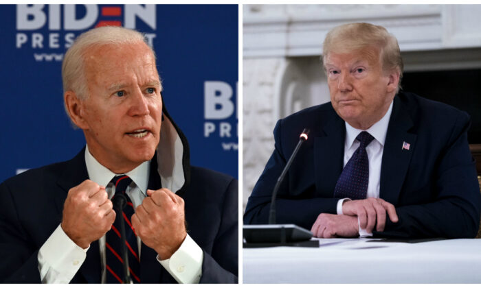 Democratic presidential candidate Joe Biden, left, holds a roundtable meeting on reopening the economy with community leaders at the Enterprise Center in Philadelphia, Penn., on June 11, 2020. On right, President Donald Trump participates in a roundtable with law enforcement officials at the White House in Washington on June 8, 2020. (Jim Watson/AFP via Getty Images; Doug Mills/Pool/Getty Images))