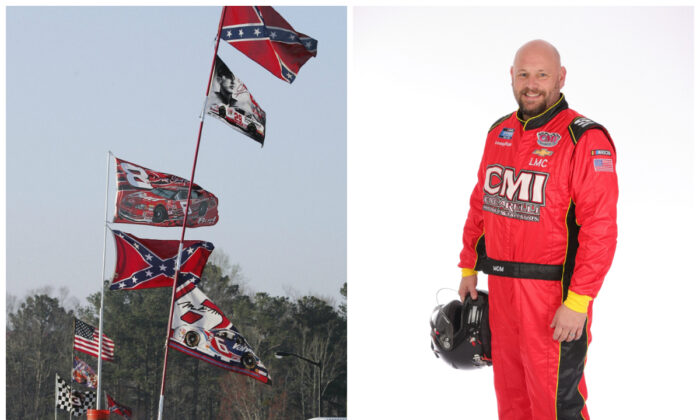 Confederate stars and bars flags fly on poles attached to campers at Atlanta Motor Speedway in Hampton, Ga., in a file photograph on left. On right, Ray Ciccarelli poses for a photo at Daytona International Speedway in Daytona Beach, Fla., on Feb. 13, 2020. (Ric Feld/AP Photo; Chris Graythen/Getty Images)