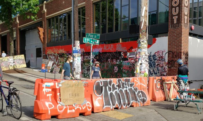An entrance to the so-called Capitol Hill Autonomous Zone in Seattle, Wash., on June 10, 2020. (Ernie Li/NTD Television)