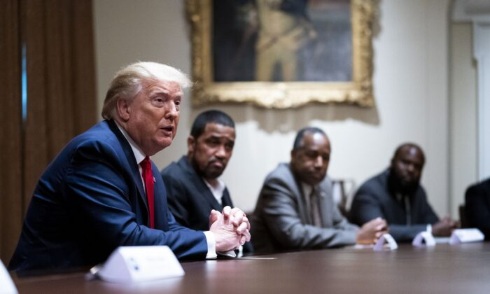 President Donald Trump speaks during a round table discussion with African American supporters in the Cabinet Room of the White House on June 10, 2020. (Doug Mills/Pool/Getty Images)
