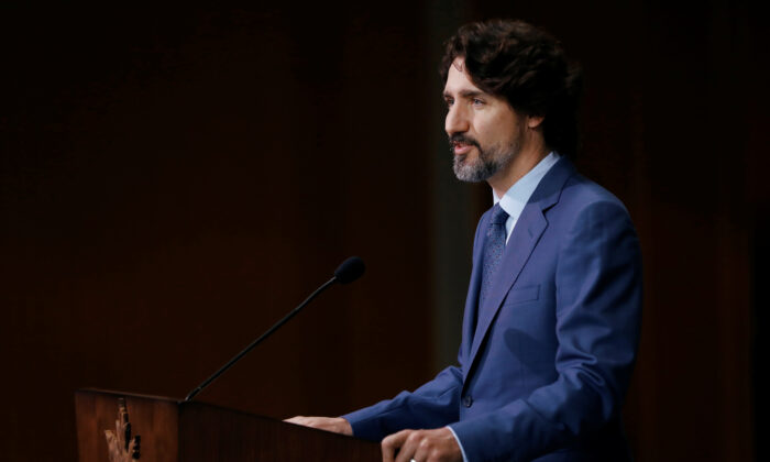 Canada's Prime Minister Justin Trudeau delivers a commencement speech during a ceremony with post-secondary graduates in Ottawa, Ontario, Canada, on June 10, 2020. (Blair Gable/Reuters)