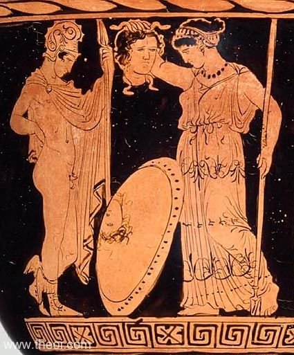 Athena receives the head of Medusa