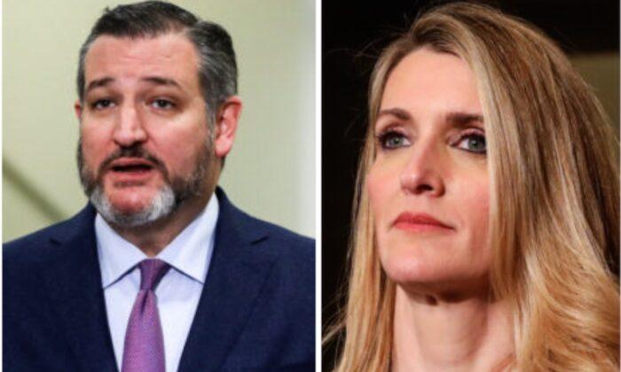 L: Sen. Ted Cruz (R-Texas) speaks to media in the Capitol in Washington on Jan. 28, 2020; R: Sen. Kelly Loeffler (R-Ga.).(Charlotte Cuthbertson/The Epoch Times)