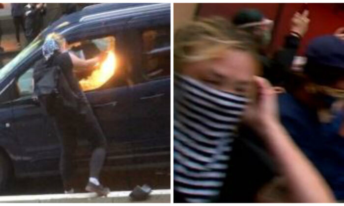 A woman identified by law enforcement as Margaret Aislinn Channon setting fire to a police vehicle in Seattle, Wash. on June 6, 2020. (SPD)