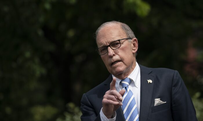 Director of the United States National Economic Council Larry Kudlow speaks to reporters outside the West Wing of the White House in Washington on May 15, 2020. (Drew Angerer/Getty Images)