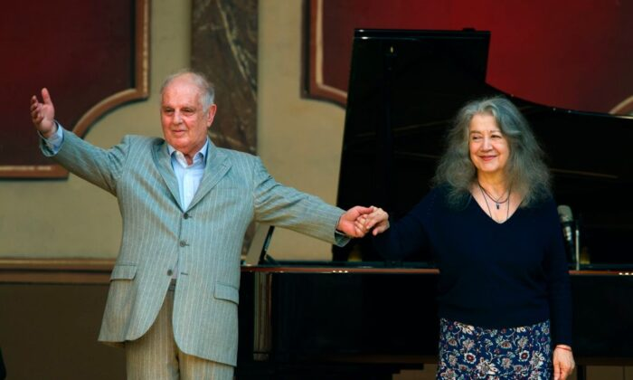 Celebrated Argentine pianist Martha Argerich and pianist and conductor Daniel Barenboim during a free concert at the Plaza Vaticano in Buenos AIres on July 29, 2017. (ALEJANDRO PAGNI/AFP via Getty Images)