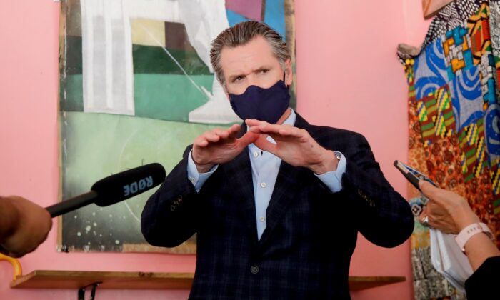 California Gov. Gavin Newsom in Oakland, Calif., on June 9, 2020. (Associated Press Pool)