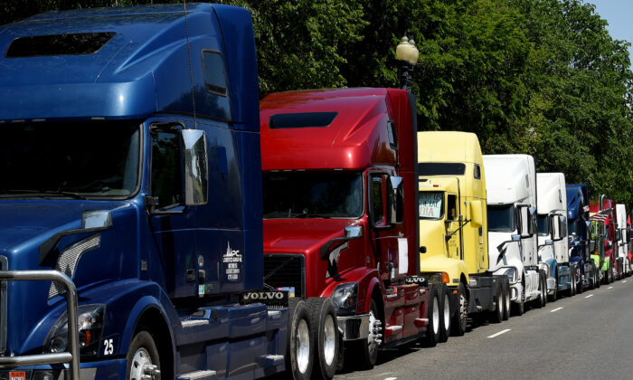 A trucker protest is seen in a file photo taken in Washington. (Olivier Douliery/AFP via Getty Images)