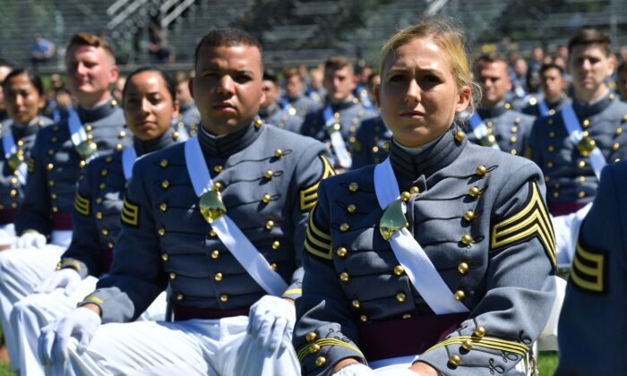 U.S. Military Academy cadets attend the 2020 graduation ceremony at West Point, N.Y., on June 13, 2020. (Nicholas Kamm/AFP via Getty Images)