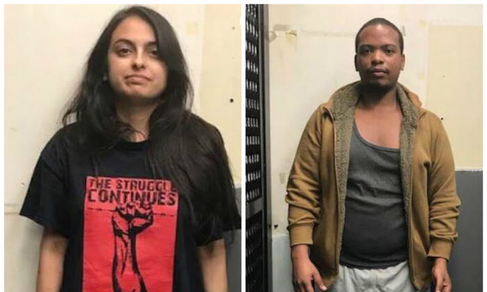 Urooj Rahman, left, and Colinford Mattis, were charged with arson, use of explosives to commit a felony, and making or possessing a destructive device for allegedly throwing Molotov cocktails at an NYPD vehicle. (US Attorney's Office-Eastern District of New York)