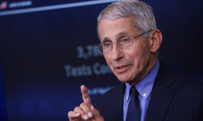 National Institute of Allergy and Infectious Diseases Director Anthony Fauci at the White House in Washington on April 17, 2020. (Leah Millis/Reuters)