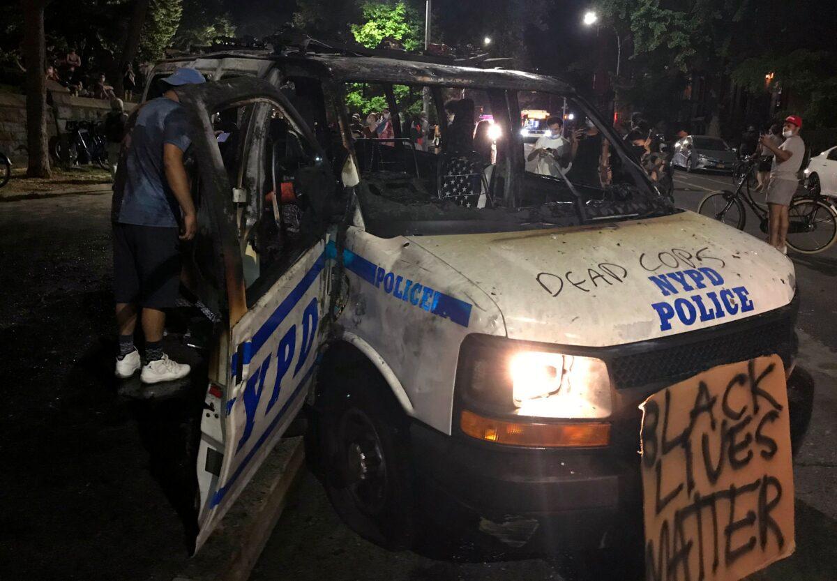 burned police vehicle