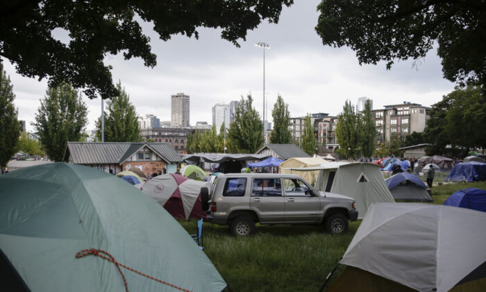 Tents are pictured in Cal Anderson Park in an area being called the Capitol Hill Autonomous Zone in Seattle, Wash., on June 12, 2020. (Jason Redmond/AFP via Getty Images)