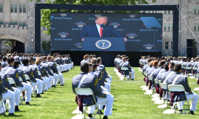 President Donald Trump delivers the commencement address at the 2020 US Military Academy Graduation Ceremony at West Point, N.Y., on June 13, 2020. (Nicholas Kamm/AFP via Getty Images)