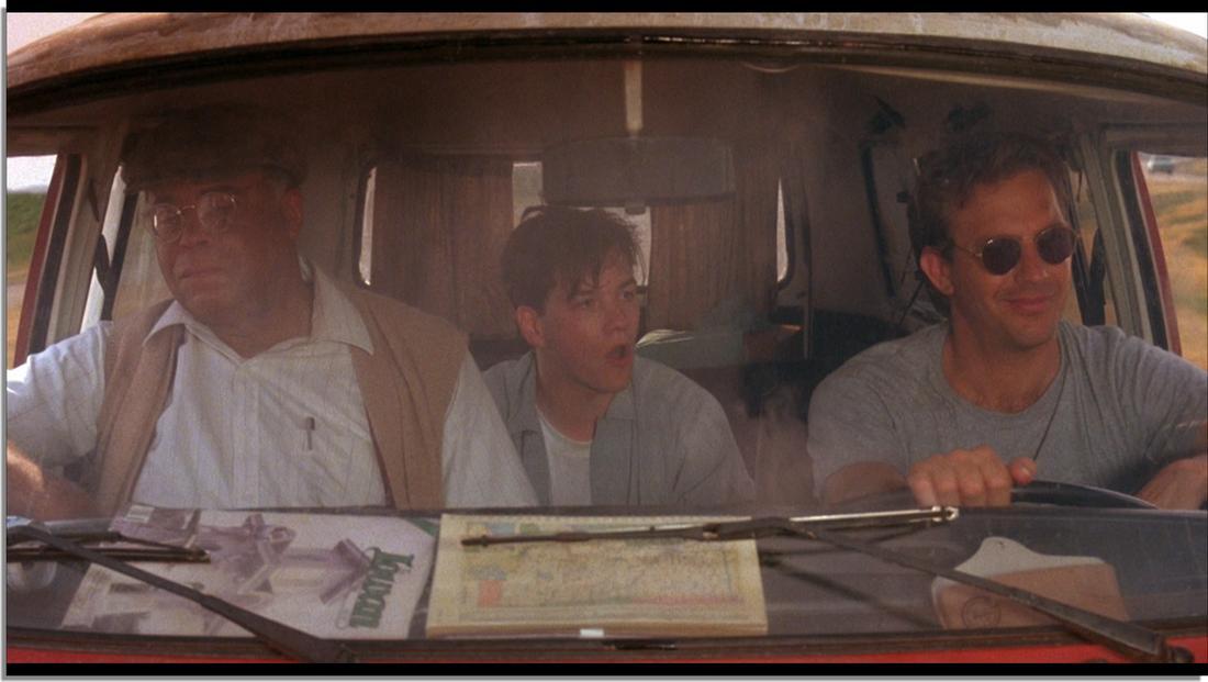 """three men driving in a van in """"Field of Dreams"""""""