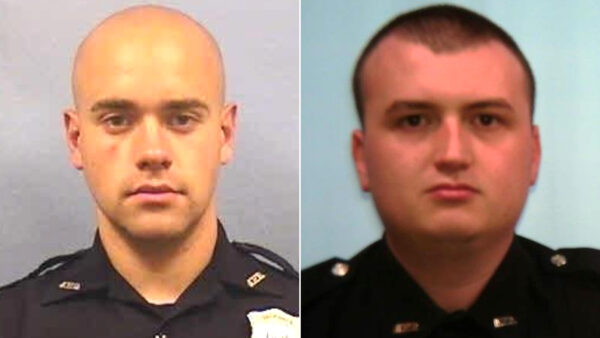 Atlanta officer Garrett Rolfe (L) and officer Devin Brosnan