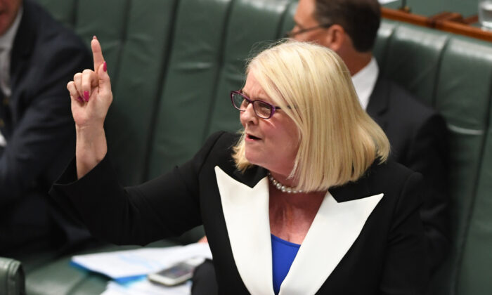 Industry, Science and Technology Minister Karen Andrews in the House of Representatives at Parliament House in Canberra, Australia on Nov 26, 2019. (Tracey Nearmy/Getty Images)