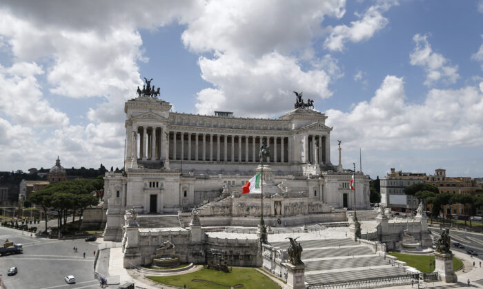 A view of the Unknown Soldier monument in Rome, Italy, on June 9, 2020. (Cecilia Fabiano/LaPresse via AP)