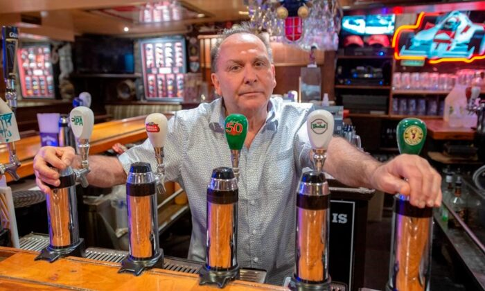 Ziggy Eichenbaum, owner of Ziggy's Pub, is seen in his bar in Montreal, on June 12, 2020. (Ryan Remiorz/The Canadian Press)