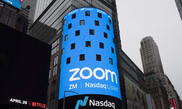 A sign for Zoom Video Communications ahead Nasdaq IPO in New York on April 18, 2019. (Mark Lennihan/AP Photo)