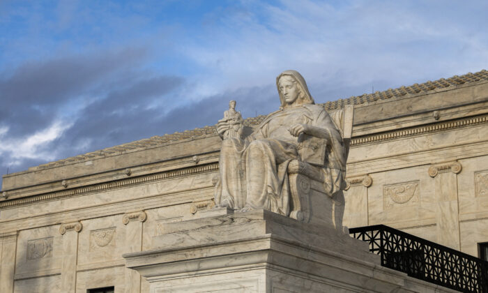 The Contemplation of Justice statue of the Supreme Court in Washington on March 10, 2020. (Samira Bouaou/The Epoch Times)
