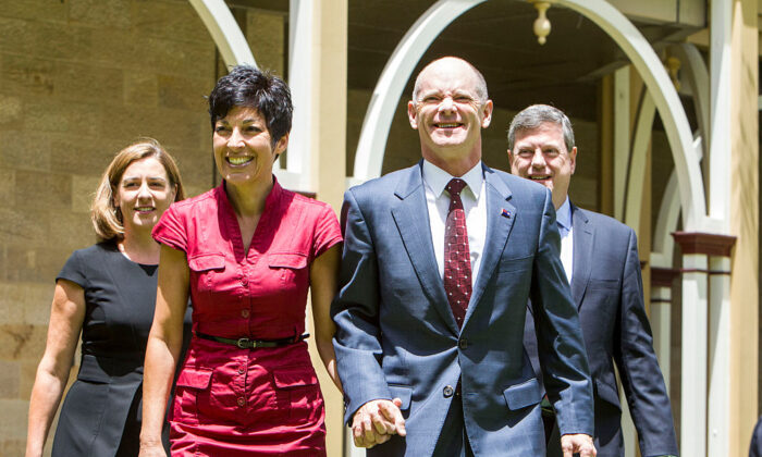 L-R, Deb Frecklington, Assistant Minister to the Premier, Lisa Newman(Premier's wife) , Queensland Premiere Campbell Newman and Tim Nicholls, QLD Treasurer at Qld Parliament House on January 6, 2015 in Brisbane, Australia. (Glenn Hunt/Getty Images)